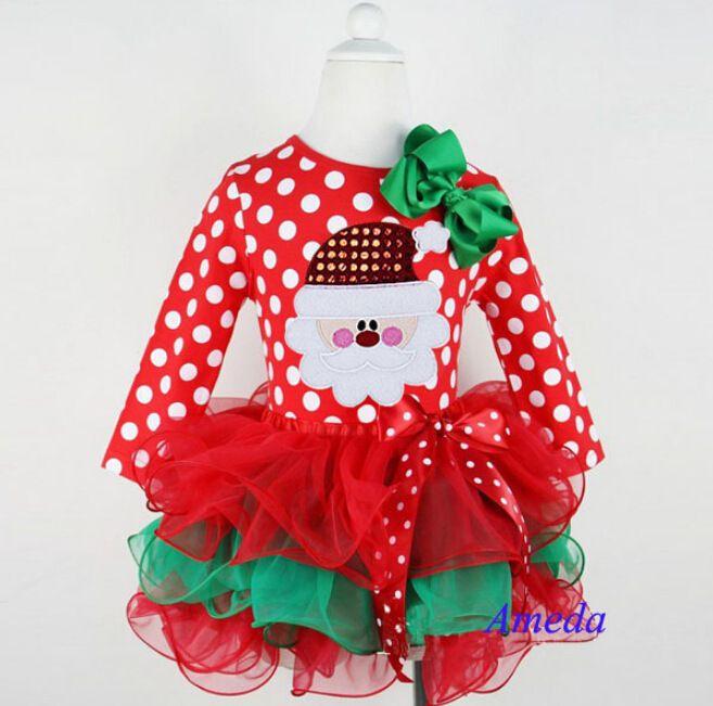 Девочки торт платье девочка ну вечеринку платье одежда младенческой девочки узор в горошек дед мороз платья