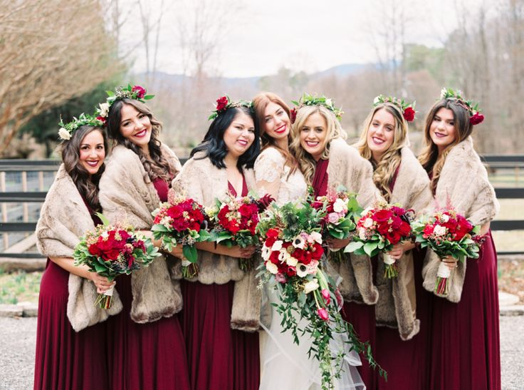 Rustic winter bridesmaid gowns: http://www.stylemepretty.com/little-black-book-blog/2016/03/08/intimate-winter-mountain-wedding/ | Photography: Perry Vaile - http://perryvaile.com/