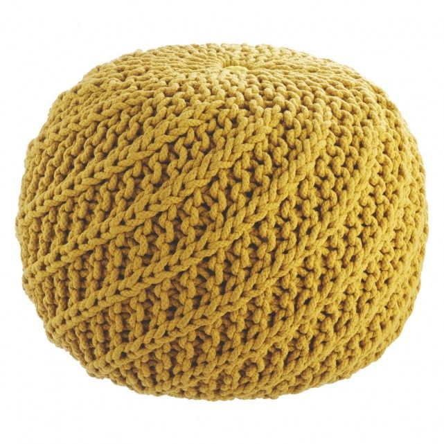 Yellow knitted round pouf from Habitat £85