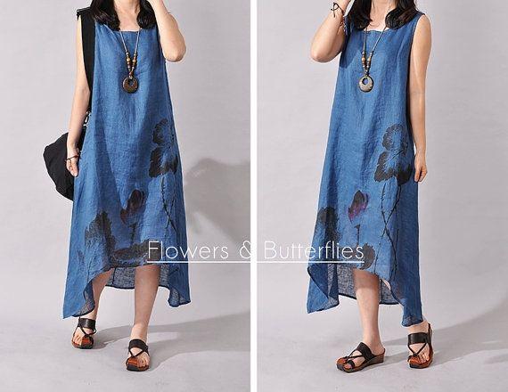 WORLDWIDE FREE SHIPPING Women Linen Dress by FlowersButterflies15