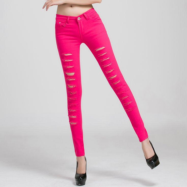 Women Jeans 2014 Hot Fashion Ladies Cotton Denim Ripped Punk Cut-out Women Sexy Denim Pants BlackWhite