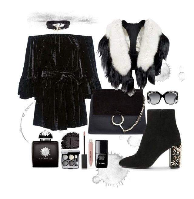 """""""black velvet"""" by marfakasha on Polyvore featuring C/MEO COLLECTIVE, Chloé, Alexander Wang, Chanel, AMOUAGE, Gucci, Burberry, Urban Decay and Fearfur"""