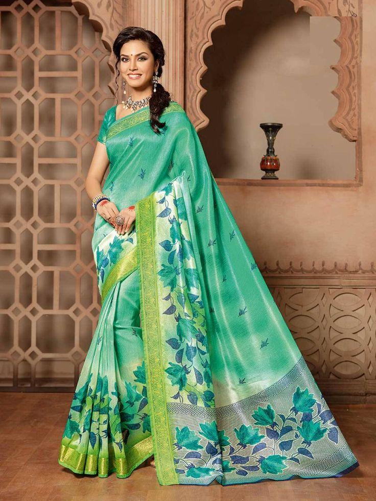 Wonderful Green Pure Cotton Silk Saree