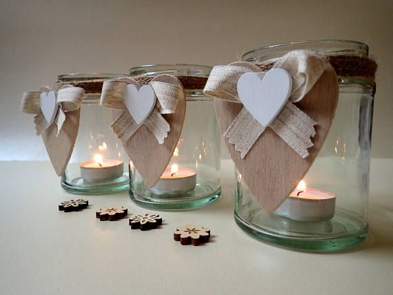 Hand Decorated Glass Jars  Rustic Tea Light Holders  Wedding