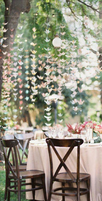 origami paper cranes #wedding #decor #inspiration