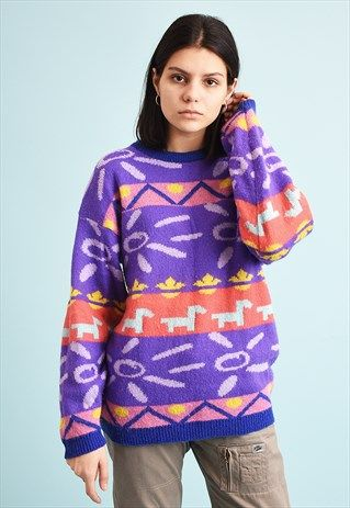 80's+retro+LEE+abstract+pattern+knit+jumper