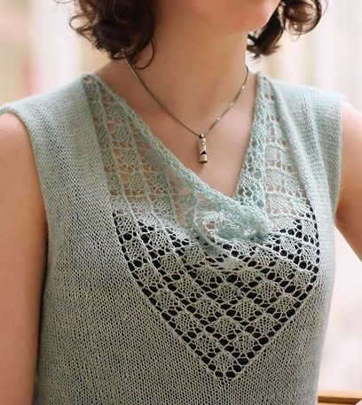 Knitting Pattern for Bonny Shell - Sleeveless top with lace panel designed by Emily Wessel. To fit size: XXS (XS, S, M, ML, L, XL, 2XL, 3XL, 4XL) tba day to night layering