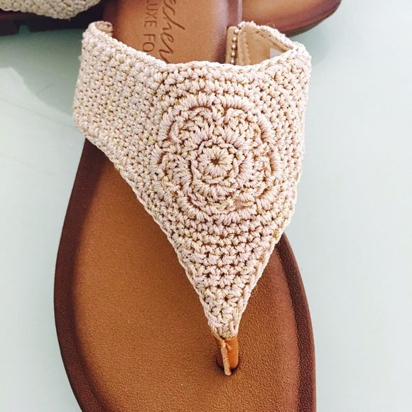 BoHo Crochet Sandals size 7 from Skechers So cute & comfy!!! Natural colored crocheted flip-flops with Tempur-pedic inner foot bed makes these super cute and really, really comfortable! Size 7 but could easily fit up to a small size 8! Skechers Shoes Sandals