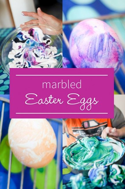 Marbled Easter eggs that toddlers can even make - awesome sensory experience!