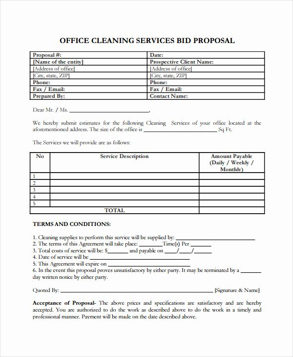 Cleaning Service Proposal Template Awesome Free Sample Proposal