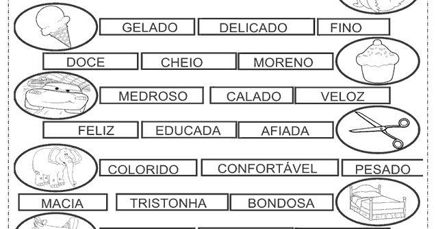 Atividades para o 4° ano do ensino fundamental de Português que fala sobre, adjetivos para pintar os adjetivos mais adequado para cada figur...
