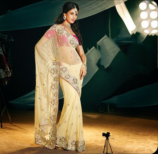 Flamboyant Buttercream Embroidered Saree | StylishKart.com