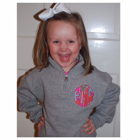 YOUTH SIZED 1/4 Zip Sweatshirt with Round Appliqued Monogram with Lilly Pulitzer Fabric on Etsy, $30.00