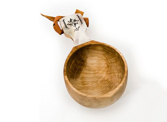 Swedish handmade Kasa cup with reindeer antler inlay. A cup is great for rustic and contemporary kitchen, outdoor use, and is expected to last a lifetime.