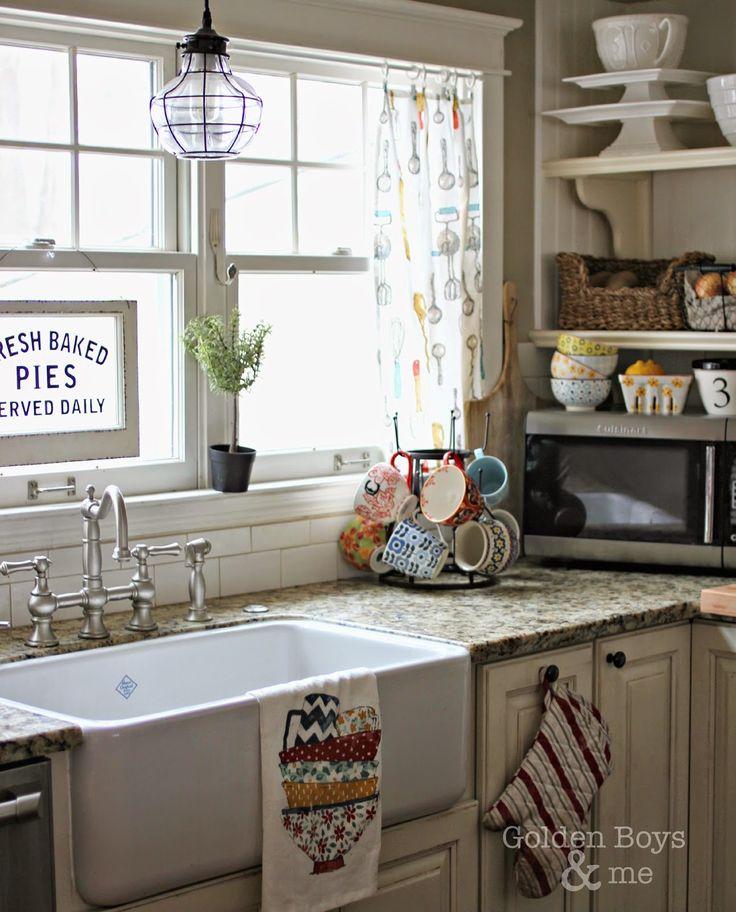 White Vintage Kitchen Curtains