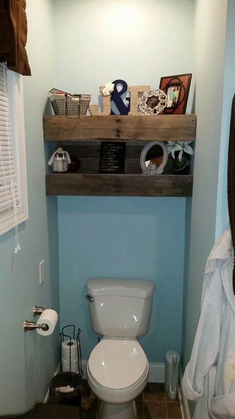 Shelves above toilet…will eventually put slats all th way up and down   – Woolard home