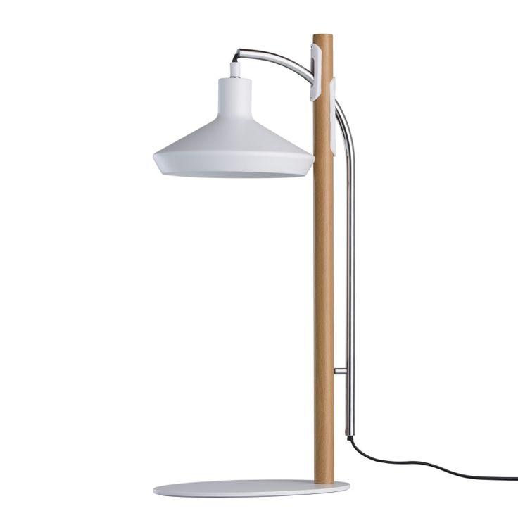 Moderne LED Tischleuchte 1 flammig Holz-Optik