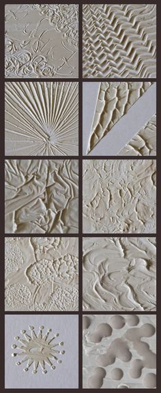 10 ways to use modeling paste to create texture in a painting; I went to her website and printed these idea, I love modeling paste!!!