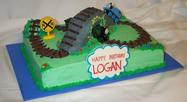 Thomas train cake - Thank you so much to jorem for your photo, ideas and instructions!  This was a fun cake to make.  I carved mini loaves into the tunnel shape.  All buttercream with fondant birthday sign and wooden trains.  My son loved it!