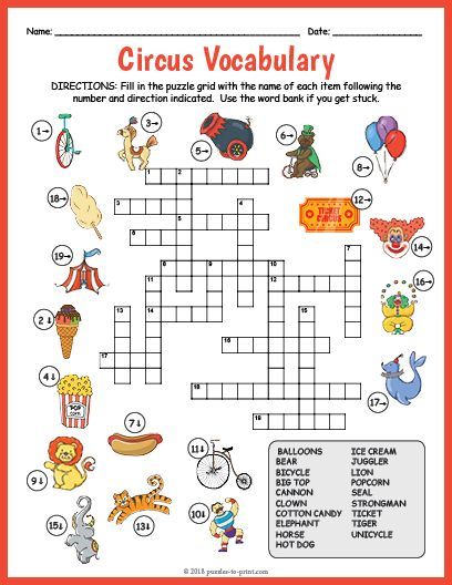 Free Printable Circus Vocabulary Image Crossword ...