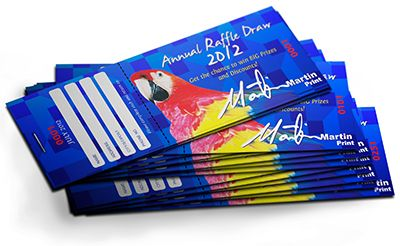 Ensure that your prize-winning Raffle gets the professional polish that it deserves, with a full colour custom-designed RAFFLE TICKET BOOK from Martin Print. Our tempting tickets are printed in full colour on a choice of either 90gsm bond stock or 150gsm glossy stock.