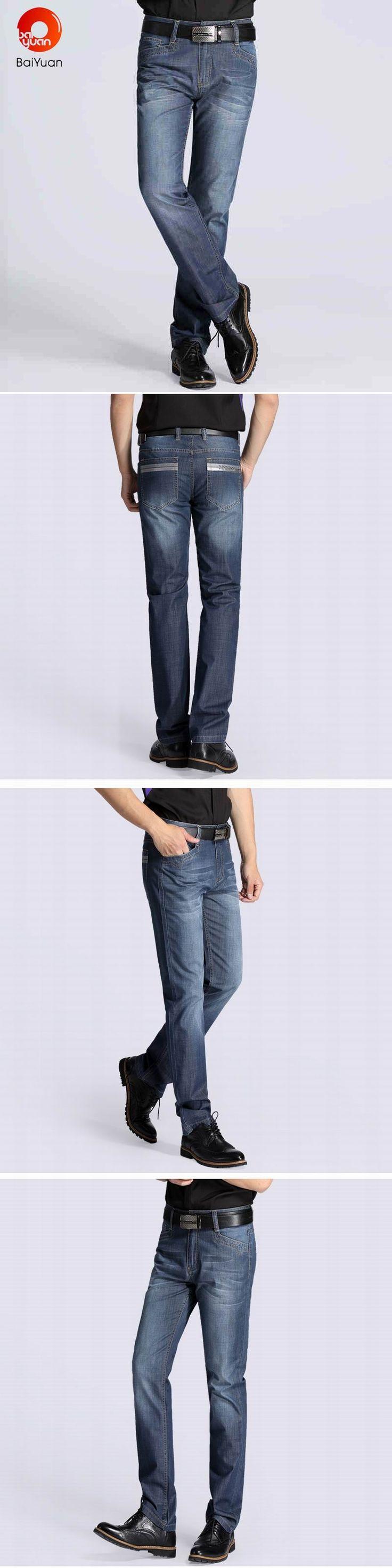 BaiYuan Trousers  Summer Stretch Breathable Straight Fit Jeans Men Thin Men's Denim Jeans Long Pants Lightweight Jeans 3E18D175