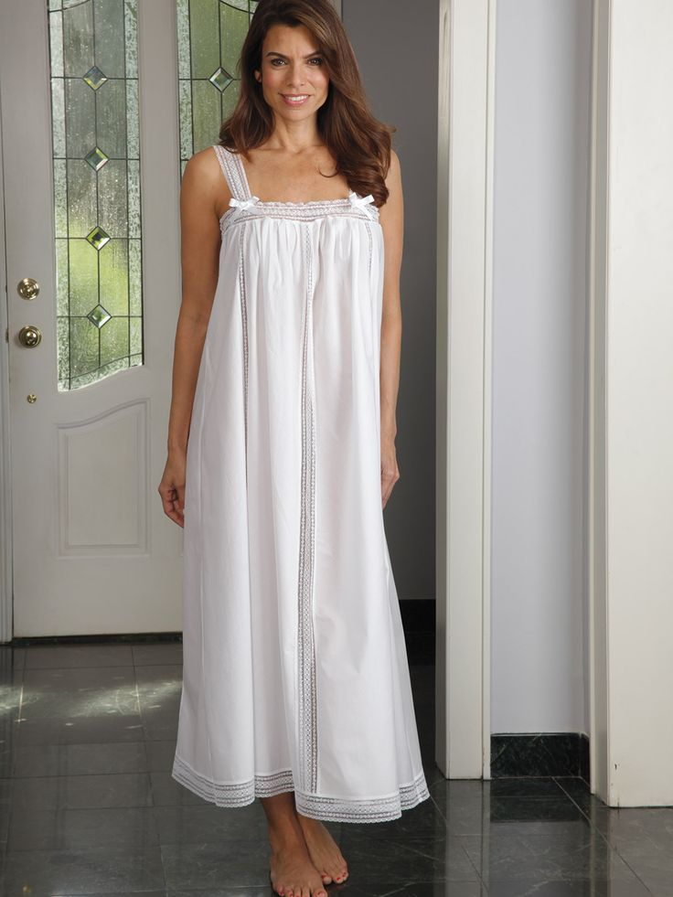 Liza - Luxury #Nightwear - Schweitzer Linen White becomes the night in this sexy and airy sleeping #gown. Satin bows and lace straps, bottom and top, and vertical lace inserts add an alluring touch. You'll look hot and keep cool in this 100% cotton, imported gown.