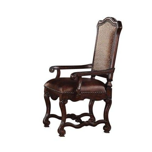 ACME 60288 Delphia Arm Chair, Brown Cherry Finish, Set of 2  The #Delphi #collection of elaborate carving and careful detail brings beauty reserved only for master dining room. The dining chairs reflect carefully selected fabric in a symphony of material.