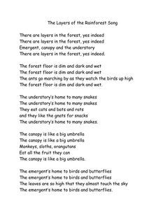 """Layers of the rainforest song. Maybe to the tune of """"If You're Happy and You Know it"""" ?:"""