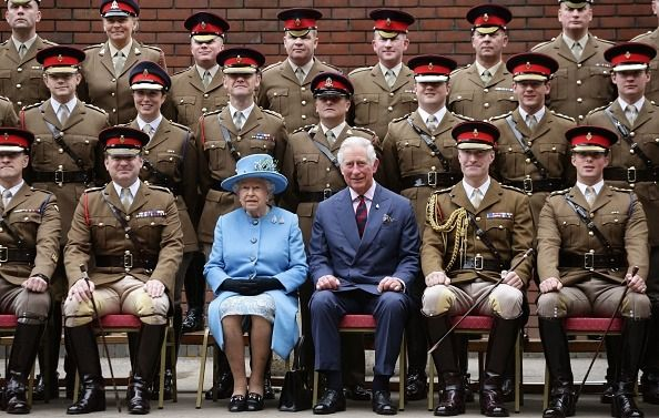 Queen Elizabeth II and Prince Charles made a visit to the Household Cavalry Mounted Regiment at the Hyde Barracks on October 24, 2017. Photo by Mark Cuthbert/UK Press via Getty Images