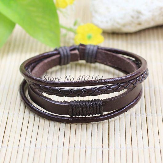 SF122-Jewelry Items Multilayers Brown braided Genuine Leather Bracelete Men Wristband For Women Pulseira Masculina Feminina #Affiliate