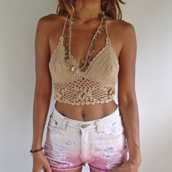 Boho Crochet Bikini Top. Colori viola o Beige. di SpellMaya