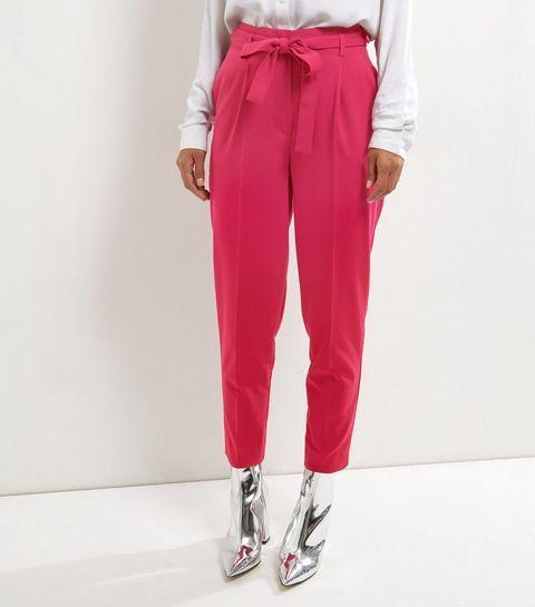 Pantalon rose vif avec lien à la taille
