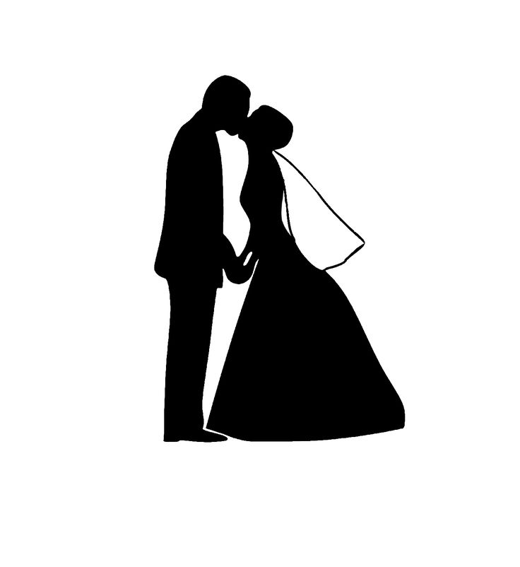 Bride And Groom Silhouette Black And White Black and whit