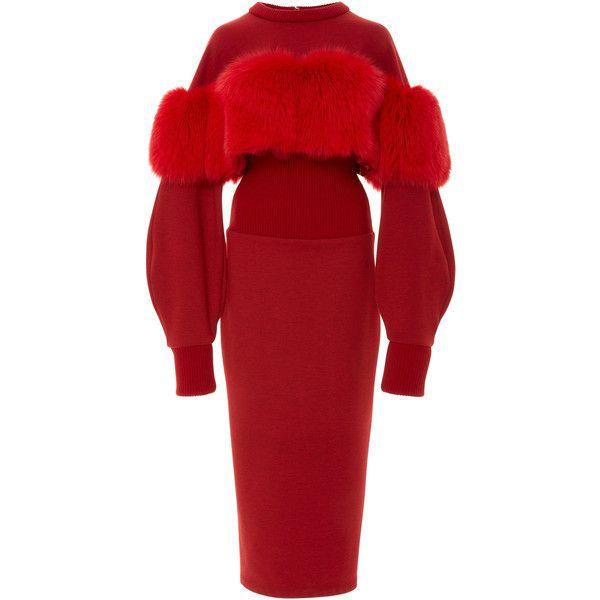 Corseted Fox Fur Sweatshirt Dress | Moda Operandi (€3.135) ❤ liked on Polyvore featuring dresses, corset dresses, sweatshirt dress, sleeved dresses, crew neck sweatshirt dress and red corset dress