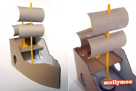 I had a lightbulb moment two nights ago – halved toilet rolls make great sails for DIY cardboard boats and rafts…. and balloon sticks make perfect masts :)  I used a RedTedArt pattern for the hull.