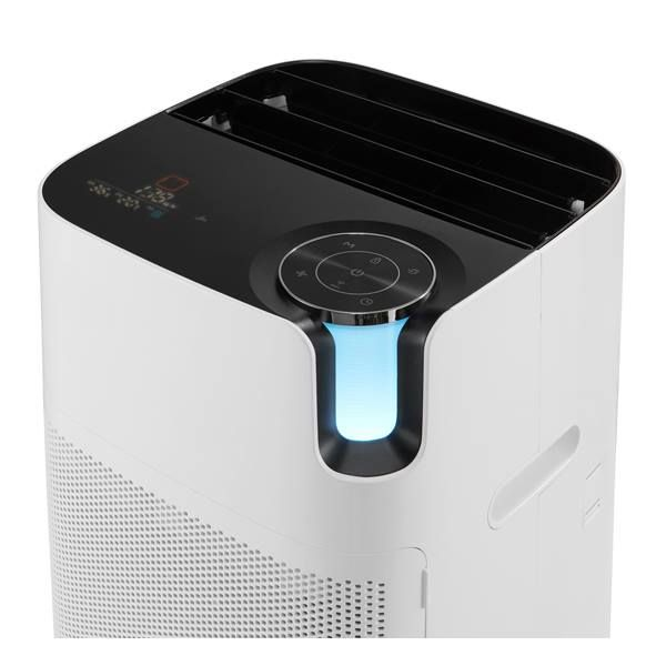 SK MAGIC AIR PURIFIER ACL-V16    UI介面設計得非常棒.....尤其銜接主控制圓盤的柱形空氣品質顯示燈 .... 控制與顯示相關的部件集中於塊體三面交會處....美觀外 操作上更具有直覺性 !!
