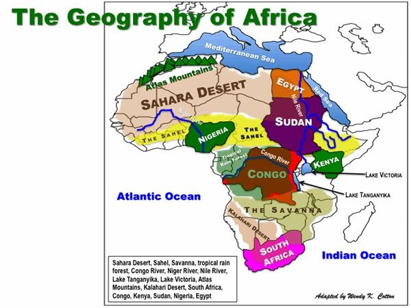 Africa  is made up of ten major land features including the, Sahara, Atlas Mountains, Sahel, Nile River, Savanna, Kalahari River, Tropical Rain Forest,and more on this map.