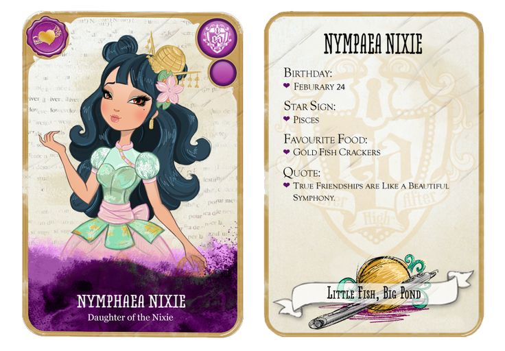 Ever After High Oc Card - Nymphaea Nixie by chunk07x.deviantart.com on @deviantART