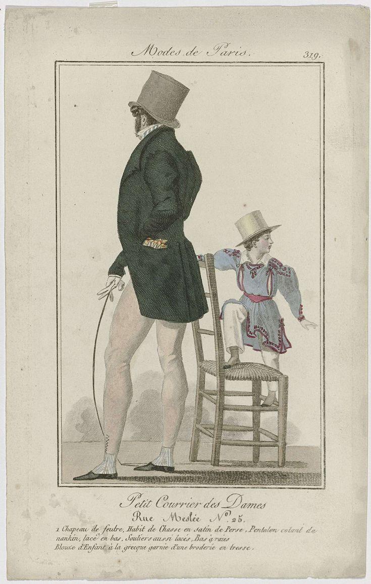 Anonymous | Petit Courrier des Dames, 1825, No. 319 : 1 Chapeau de feutre..., Anonymous, Dupré (uitgever), 1825 | Man, op de rug gezien, met op het hoofd een hoge hoed van vilt. Hij draagt een 'habit de chasse' (jachtkostuum) van 'satin de Perse' (satijn). Lange broek van 'nankin' met een rijgsluiting aan de onderkant. Schoenen ook met rijgsluiting. Gestreepte kousen. Accessoires: handschoenen, zweep. Kind, staande op een stoel, gekleed in een blouse 'à la grecque', versierd met borduurwerk…