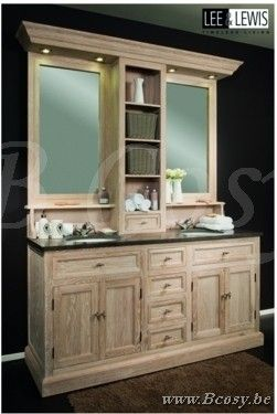 Lee&Lewis Bath Kast Dubbel Eik White Wash Led Verlichting Met Natuurstenen 180 Landelijke badkamer-Landelijk badkamermeubel