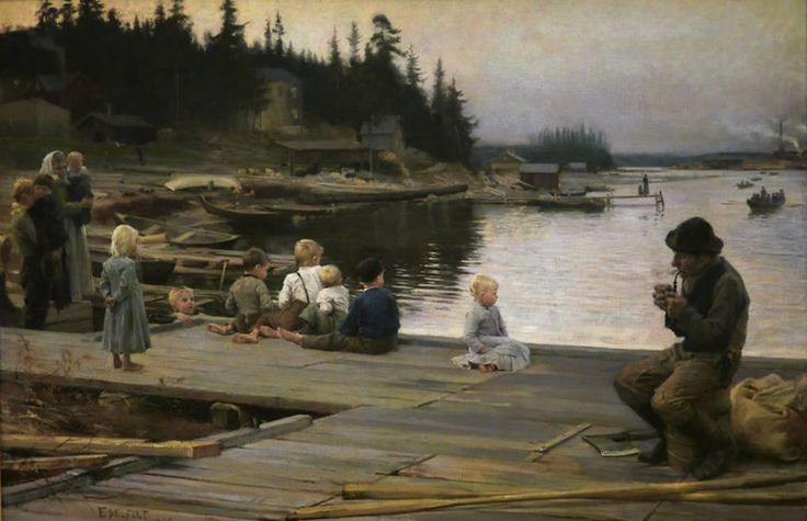 Albert Edelfelt(1854ー1905 )「Summer evening at Hammar's repair yard」(1885)