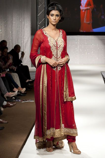 Pakistan Fashion Week 2011 London ~ Amna Farhan, Bombay House, Deep Red - Asian Wedding Ideas