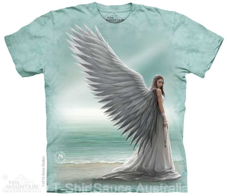 Angel Spirit Guide Adults T-Shirt by Anne Stokes : The Mountain - 2017 Collection : T-Shirtsauce Australia: The Mountain T-Shirts