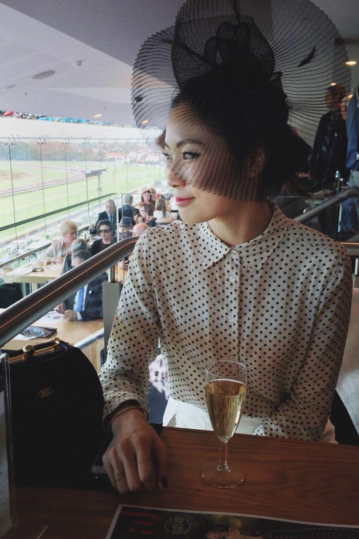 Polka dot shirt + fascinator + Melbourne Cup style