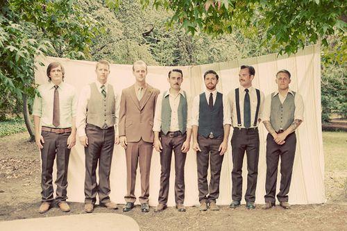Mismatched groomsmenWedding Parties, Vintage But, Wedding Plans, Grooms Suits, Groomsmen Ideas, Wedding Groomsmen, Grooms And Groomsmen, Men Wear, Hipster Wedding