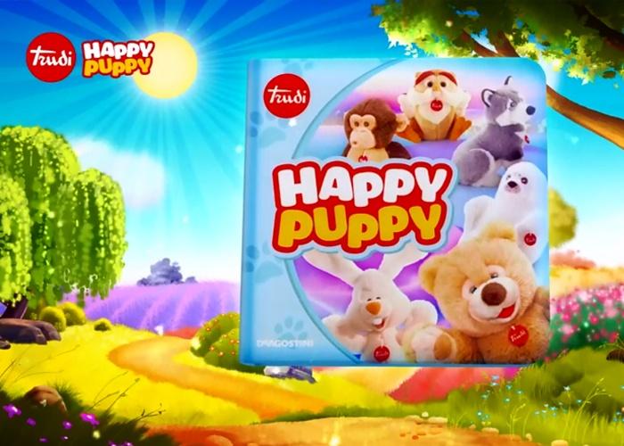 Trudi Group - Happy Puppy  Trudi diventa cartoon!  Una miniserie animata di 6 pillole da 1 minuto per la TV dedicata ai personaggi Trudi: l'orso Ettore, il coniglio Virgilio, il cane Marcus, la foca Lucy, lo scimpanzè Evaristo, il gufo Rinaldo.