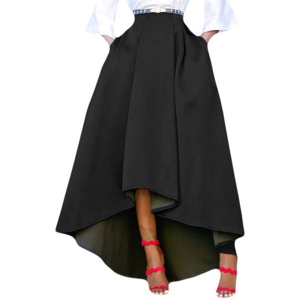 Black Asymmetric High Low Hem Maxi Prom Skirt 2 155 Inr Liked On Polyvore Featuring Skirts Hi Low Maxi Skirt F Womens Skirt Pleated Long Skirt Prom Skirt