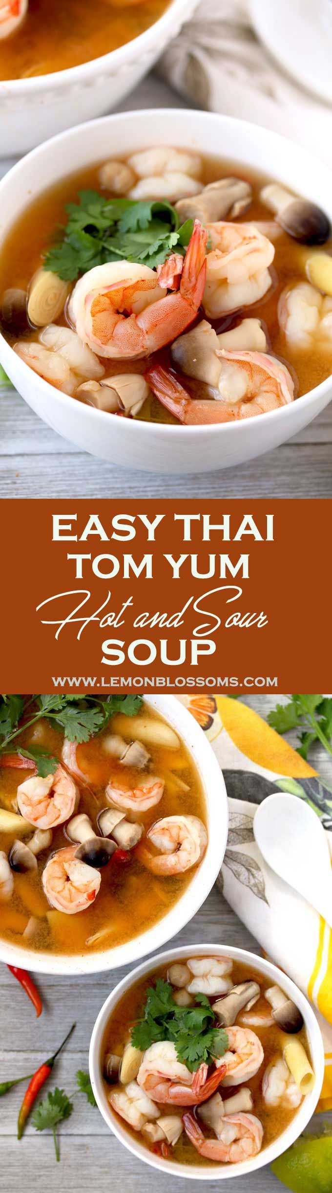 Thai Tom Yum Soup (Thai Hot and Sour Soup) is one of the easiest and quickest soups to make. The full flavored broth is infused with lemongrass, ginger and Thai chiles. Plump Shrimp, straw mushrooms and fresh cilantro complete this delicious and warming s