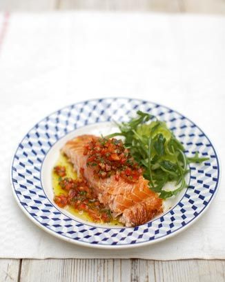 soy-baked salmon with zingy salsa: Food Recipes, Soy Baked Salmon, Salsa Recipe, Healthy, Cooking, Zingy Salsa, Salmon Recipes, Jamie Oliver